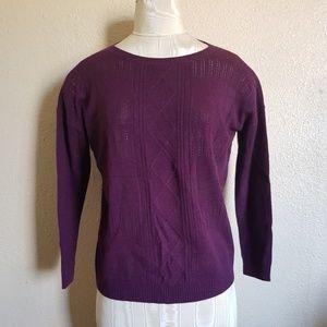 NWT Women Hayden Cashmere Cable Sweater Bordeaux